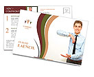 Young man holding blank poster Postcard Template