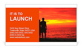 Romantic silhouette of a loving couple on honeymoon looking at a beautiful red sky sunset in Maldive Business Card Template
