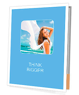 Beautiful Girl With White Scarf on The Beach. Travel and Vacation. Freedom Concept Presentation Folder