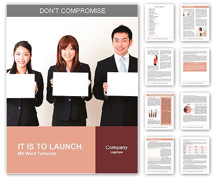 Aziatische business team met een blanco whiteboard Lexicale template