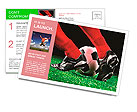 Soccer ball and feet on the football field Postcard Template
