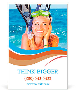 Pretty girl with flippers on the beach Ad Template