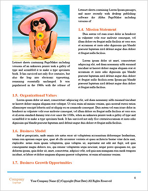Pretty girl with flippers on the beach Word Template - Page 4