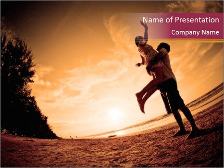 Happiness and romantic Scene of love couples partners on the Beach PowerPoint Template