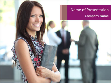 Smiling Office Manager PowerPoint Template