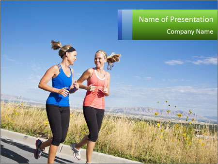 Two Women Jogging Together Шаблоны презентаций PowerPoint