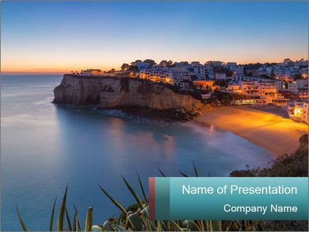 Mediterranean Coast During Sunset PowerPoint Template