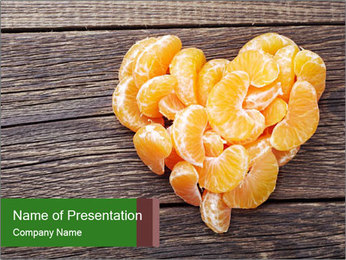 Slices of tangerine in the shape of hearts PowerPoint Template
