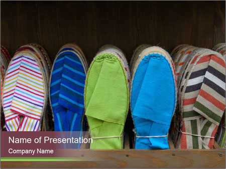 Colorful espadrilles for sale PowerPoint Template