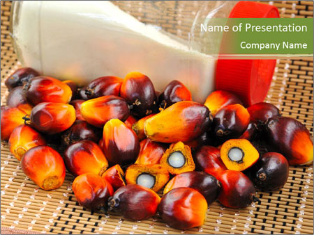 Close up of fresh oil palm fruits PowerPoint Template