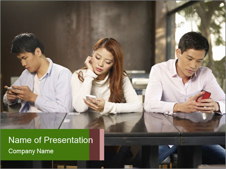 Young people playing with smartphones PowerPoint Template