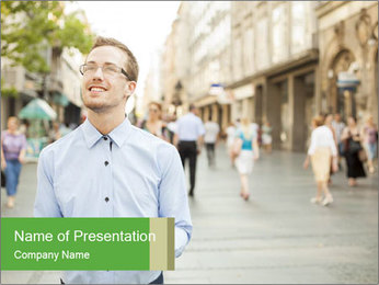 Tablet Computer in public space PowerPoint Template
