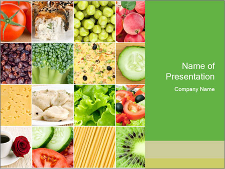 Collage of healthy food PowerPoint šablony