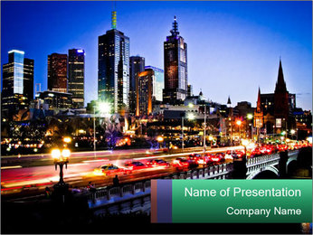Melbourne by Night PowerPoint Template