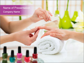 Woman in a nail salon PowerPoint Template