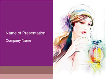 Young vintage woman PowerPoint Template