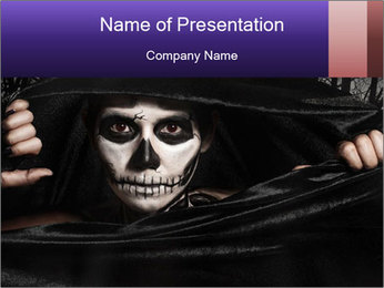 Women painted as skeleton PowerPoint Template
