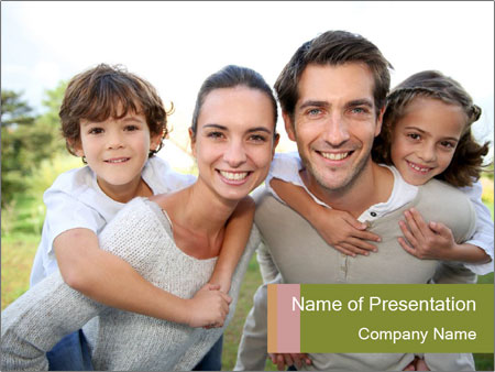 Parents giving piggyback ride PowerPoint Template