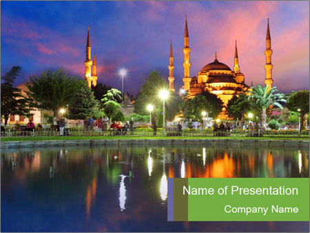 Blue Mosque In Turkey Powerpoint Template Backgrounds Google