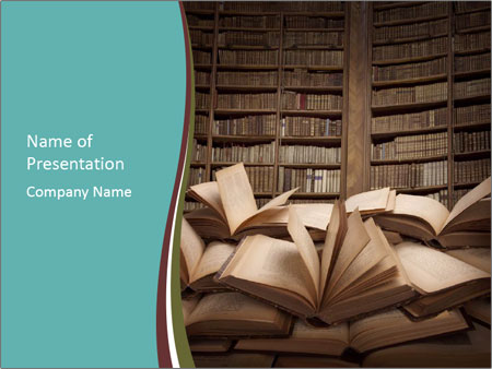 Pile Of Open Books Powerpoint Template Infographics Slides