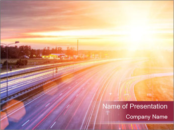 Picture of a highway PowerPoint Template