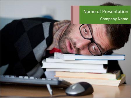 A tired nerd falling asleep PowerPoint Template