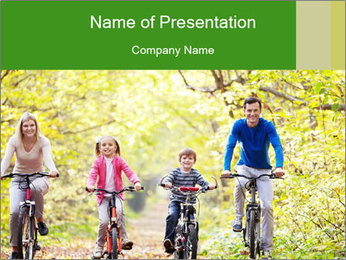 The family in the park PowerPoint Template
