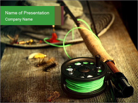 Fly fishing equipment PowerPoint Template